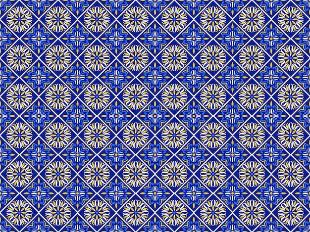 Azulejos Motif De Carrelage Portugais, Carreaux Bleus Indigo Sans Soudure De Lisbonne, Céramique Géométrique Vintage, Fond De Vecteur Espagnol. Patchwork Intérieur Géométrique Marocain. Papier Peint Marocain Azulejo Vecteur Premium