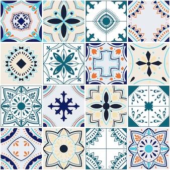 Azulejos traditionnels portugais ornés de carreaux de couleur décorative. abstrait. illustration vectorielle dessinée à la main, carreaux portugais typiques, carreaux de céramique. modèle sans couture.