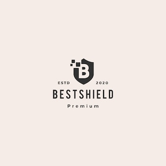 B lettre bouclier pixel numérique logo icône hipster vintage rétro