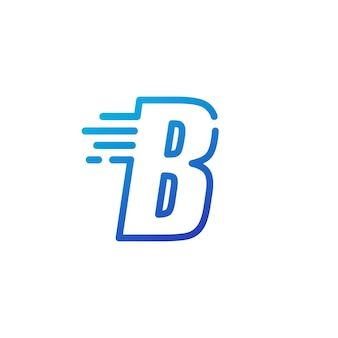 B lettre dash rapide rapide marque numérique contour logo vecteur icône illustration