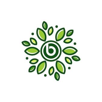 B lettre feuille fleur abstraite logo design icône illustration