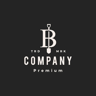 B lettre marque pelle bêche hipster logo vintage icône illustration vectorielle