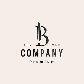 B lettre marque stylo plume encre modèle de logo vintage hipster