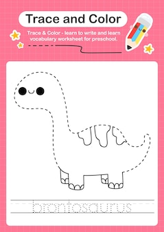 B traçage du mot pour les dinosaures et coloration de la feuille de calcul avec le mot brontosaure