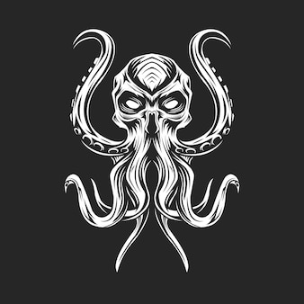 B & w squid sur dark