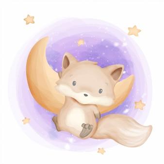 Baby foxy atterrissant sur la lune