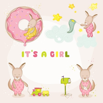 Baby girl kangaroo set - baby shower ou cartes d'arrivée - en