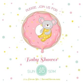 Baby shower ou carte d'arrivée - baby mouse girl