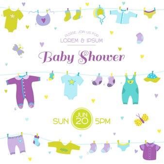 Baby shower ou carte d'arrivée - éléments mignons de bébé garçon - en