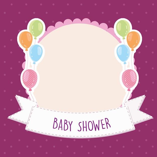 Baby shower carte de voeux ballons bannière modèle illustration vectorielle