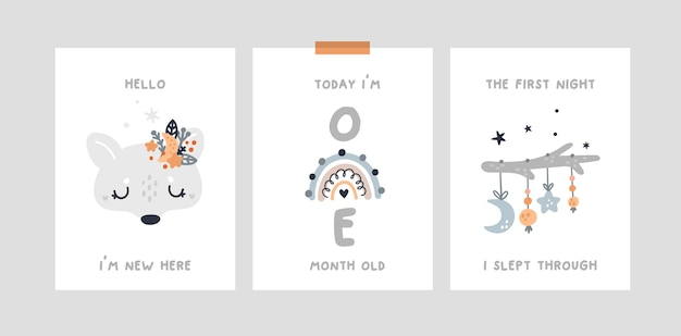 Baby shower, cartes de jalon avec bébé loup animal, arc en ciel. carte d'anniversaire du mois de la crèche