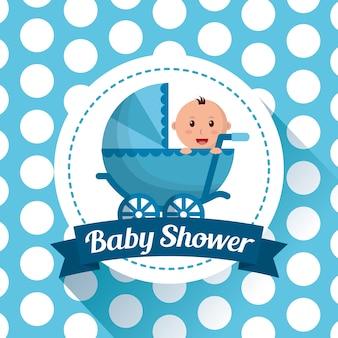 Baby shower célébration points fond bébé carriege garçon souriant heureux