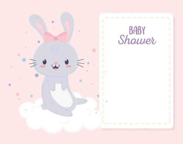 Baby shower cute little bunny girl in cloud carte de voeux