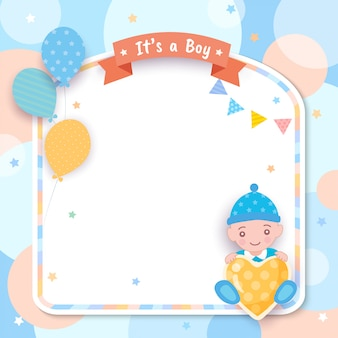 Baby shower.c'est un garçon avec des ballons et un cadre