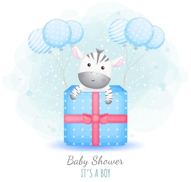 Baby shower c'est un garçon. mignon bébé zèbre dans une boîte cadeau avec des ballons