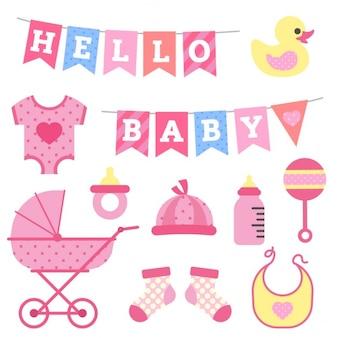 Baby shower fille objets clipart