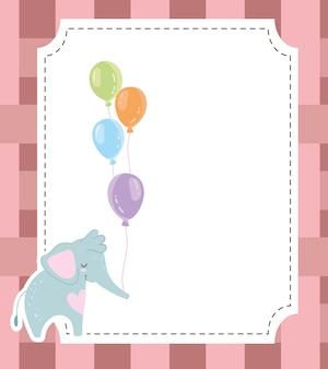 Baby shower mignon éléphant et ballons invitation carte illustration vectorielle