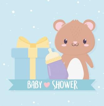 Baby shower mignon petit ours en peluche boîte cadeau et bouteille de lait