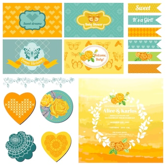 Baby shower ou party set papillon vintage