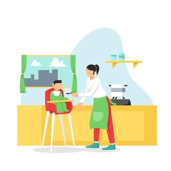 La baby-sitter donne de la nourriture pour bébé sur la table