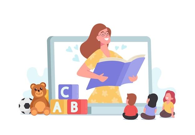 Baby-sitting, sympathique personnage de nounou numérique lisant des contes de fées aux enfants. baby sitter nounou en ligne. service, garde d'enfants