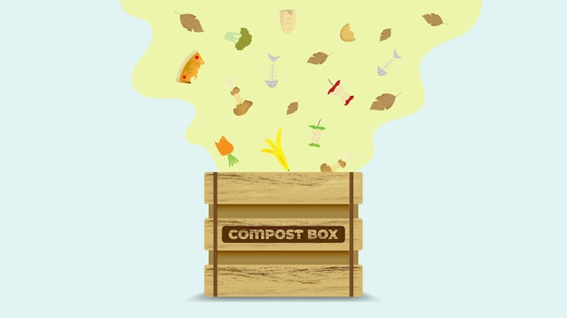 Bac à compost concept cycle de compost avec illustration de déchets organiques