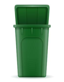 Bac de recyclage poubelle seau sur blanc