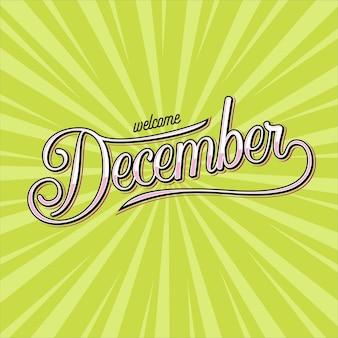 Bacground bienvenue décembre avec lettrage à la main