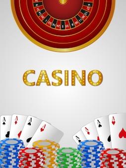 Bacground de casino réaliste avec puce de casino de carte à jouer créative
