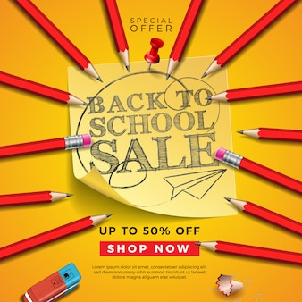 Back to school sale design avec un crayon graphite, une gomme et des notes autocollantes sur fond jaune.