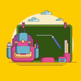 Back to school suplies sur jaune