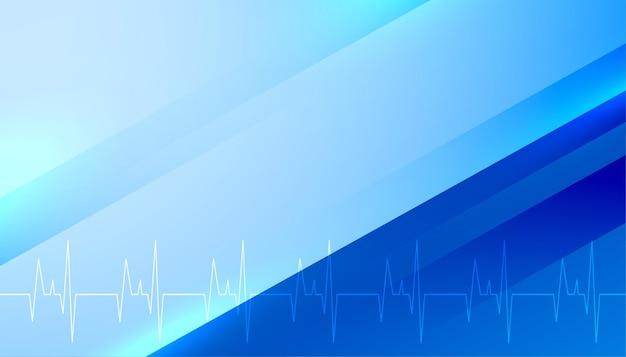 Backgorund bleu médical avec ligne de rythme cardiaque