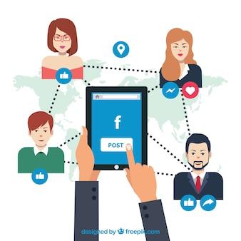 Background facebook reliant les personnes