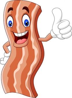 Bacon mignon dessin animé donnant un pouce