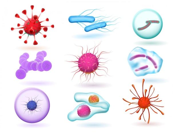 Bactérie microbiologique 3d réaliste, divers virus, microorganismes naturels et virus microscopiques de la grippe