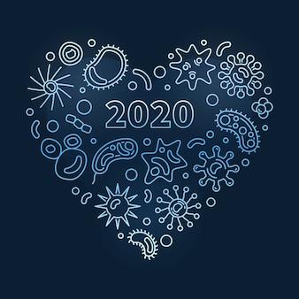 Les bactéries décrivent l'illustration du cœur bleu