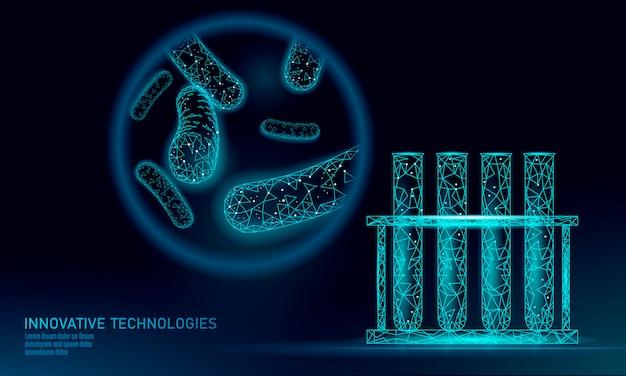 Les bactéries du tube à essai low poly rendent les probiotiques. microorganisme d'analyse en laboratoire. flore saine du corps humain. science moderne technologie médecine allergie immunité thearment