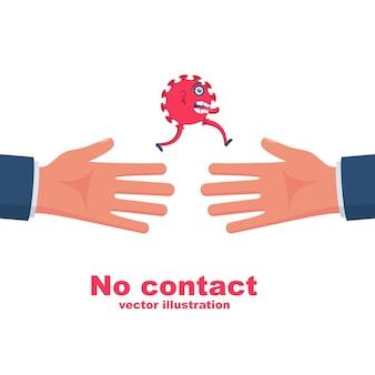 Bactéries à portée de main. coronavirus transmis par une poignée de main
