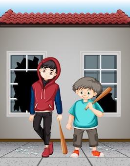 Bad adolescents brisant les fenêtres