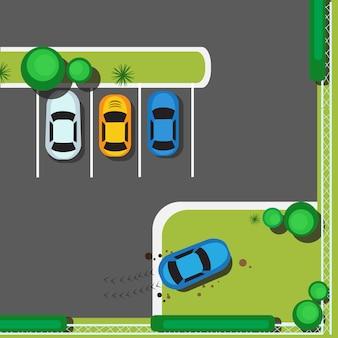 Bad city parking bloquant les voitures concept top view angle