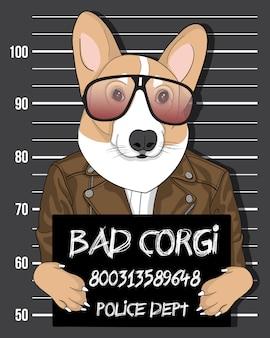 Bad corgi, chien mignon dessiné à la main avec illustration de lunettes de soleil