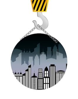 Badge accrochant de grue de construction de bâtiments