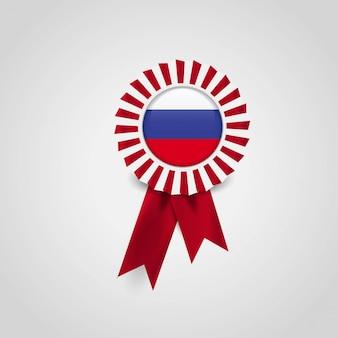 Badge de bannière de ruban de drapeau de la russie