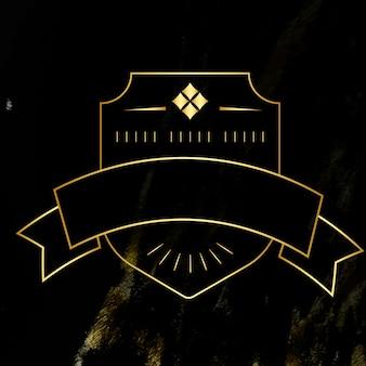 Badge blanc doré