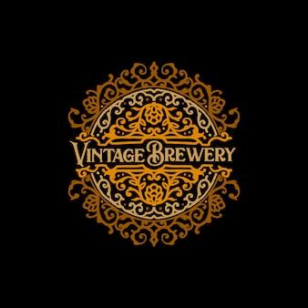 Badge de brasserie dessiné à la main vintage