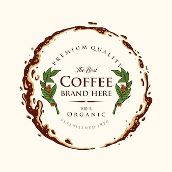 Badge café étiquette premium splashed illustrations