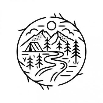 Badge camping dans la forêt