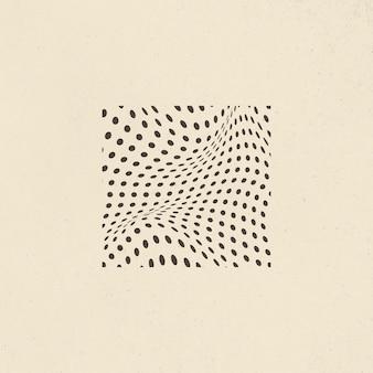 Badge carré abstrait cercle noir 3d