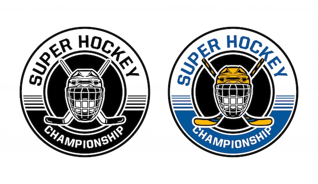 Badge de cercle de championnat de hockey sur glace