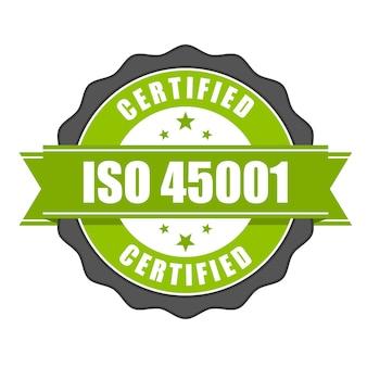 Badge De Certificat De La Norme Iso 45001 - Santé Et Sécurité Vecteur Premium